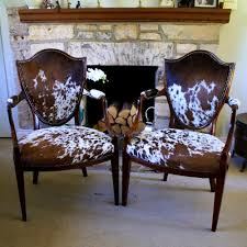 Faux Cowhide Chair Furniture Handsome Pair Antique Cowhide Chairs Footstools Hide