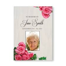Funeral Stationery Personalised Funeral Memorial Order Of Service A5 Folded Pink Rose