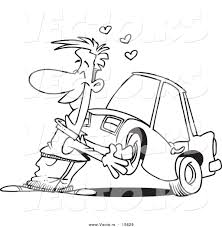cartoon car black and white vector of a cartoon man cuddling with his car coloring page