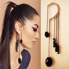cuff earrings with chain europe america big retro clip earrings without piercing exaggerate