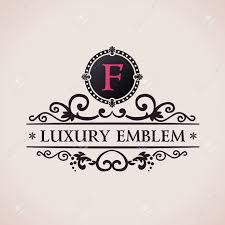 luxury logo calligraphic pattern elegant decor elements vintage