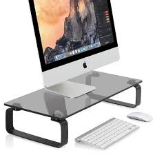 Computer Desk Stand Tempered Glass Computer Monitor Riser Tv Stand For Save Space