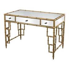 convenience concepts gold coast mirrored desk 413372 the home depot