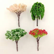 artificial pink tree willow miniature garden home houses