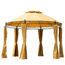 Outdoor Gazebo With Curtains by Outsunny 11 U0027 Round Outdoor Patio Party Gazebo Canopy W Curtains
