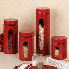 Clear Plastic Kitchen Canisters Kitchen Canister Sets In Red Color Homesfeed