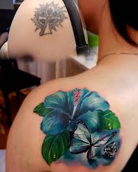 hibiscus u0026 butterfly shoulder blade cover up best tattoo design