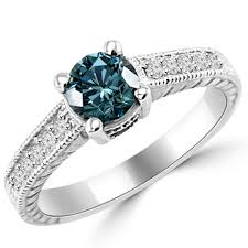 blue diamond wedding rings 0 91 carat vs1 blue diamond engagement ring antique style