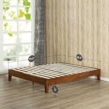wood slat zinus 12 inch deluxe wood platform bed no boxspring needed