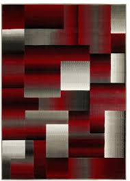 hr geometric abstract contemporary area rug red silver gray