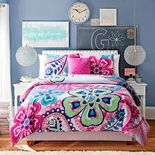 5 pc twin bedding set girls comforter set pink floral by