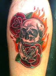 skull flames and roses tattoo design in 2017 real photo pictures
