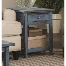 Rustic End Tables Alaterre Furniture Country Cottage Rustic Blue Antique End Table