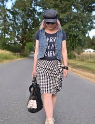 country time styling a ruffled gingham skirt with a graphic tee