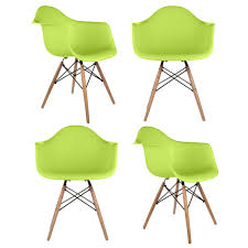Molded Plastic Outdoor Chairs by Set Of 4 Eames Style Daw Molded Lime Green Plastic Dining Armchair