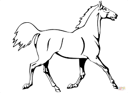 horse trotting coloring page free printable coloring pages