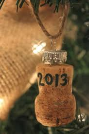 made an ornament from a chagne cork from a friend s wedding day