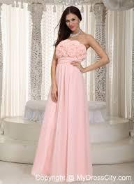 flowers strapless chiffon empire simple cheap prom dresses