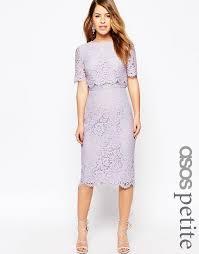 Lilac Dresses For Weddings Asos Petite Asos Petite Lace Crop Top Midi Pencil Dress