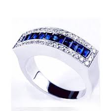 cheap wedding bands for blue sapphire and diamond women s wedding band 94