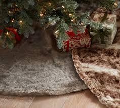 fur christmas faux fur tree skirt pottery barn