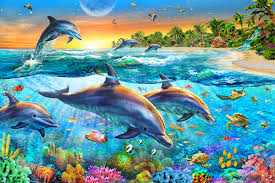 dolphin bay wall mural dolphin bay wallpaper wallsauce dolphin bay wall mural photo wallpaper