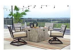 Ashley Swivel Chair by Signature Design By Ashley Peachstone 5 Piece Fire Pit Set With