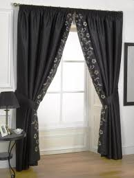 Black Curtain Black Color Curtain And Elegant Floral Motif Also Inner Layer