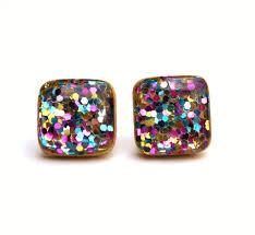 glitter stud earrings rainbow glitter earrings rainbow stud earrings rainbow