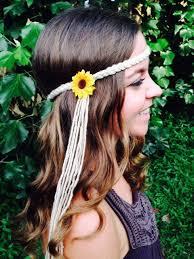 hippie headbands 14 orange yarn braid mini silk sunflower hippie headband