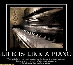 Piano Meme - life is like a piano the white keys represent happiness the