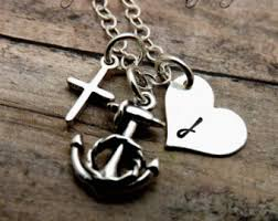Popular Items For Love Anchors - faith hope love necklace sterling silver chain necklace