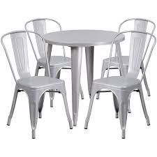 30 u0027 u0027 round silver metal indoor outdoor table set with 4 cafe