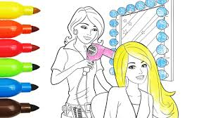 coloring pages barbie hair salon coloring book with colored