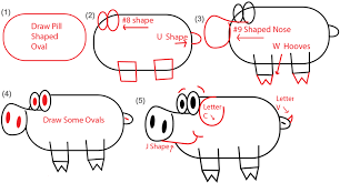big guide to drawing cartoon pigs with basic shapes for kids how
