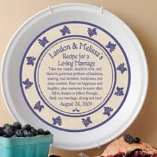 personalized pie plate personalized recipe for a happy marriage pie plate findgift
