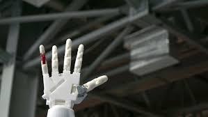ufa russia 05 06 2016 ufa russia 24 march 2016 cybernetic robot arm which controls