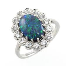 black opal engagement rings 18ct white gold 3 14ct black opal 1 04ct cluster ring