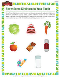 show some kindness to your teeth u2013 kindergarten science worksheet