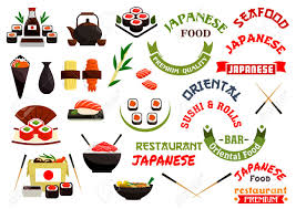 stiker cuisine japanese cuisine vector labels ribbons for seafood