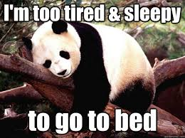 Im Sleepy Meme - i m too tired sleepy to go to bed procrastination panda quickmeme