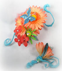 Corsages And Boutonnieres For Prom Coral Daisy Blue Butterfly Prom Flower Corsage And Boutonniere Set