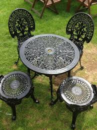 Metal Garden Table And Chairs Black Metal Garden Furniture Bistro Set In Benfleet Essex Gumtree