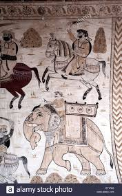 wall painting mural soldiers on horses and elephants at stock stock photo wall painting mural soldiers on horses and elephants at lakshminarayan temple orchha tikamgarh madhya pradesh india