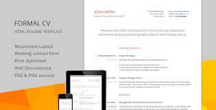 Resume Html Template Download Formal Cv Responsive Cv Resume Html Template