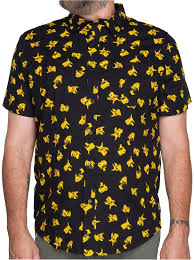 amazon com pokemon pikachu all over woven print button up mens