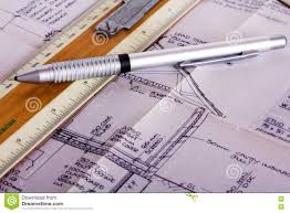 drawing equipment with detailed architects house plans stock photo