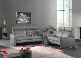 canap gorini salon complet gorini calgary en cuir gris canapé 3 places 2 relax