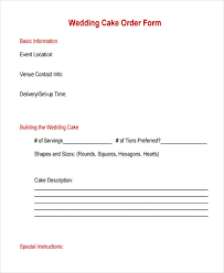 wedding cake order form 12 cake order form sle free sle exle format