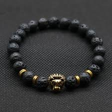 mens bracelet charms images Men 39 s lava stone bracelet with lionhead accent bead jewelry we luv jpg